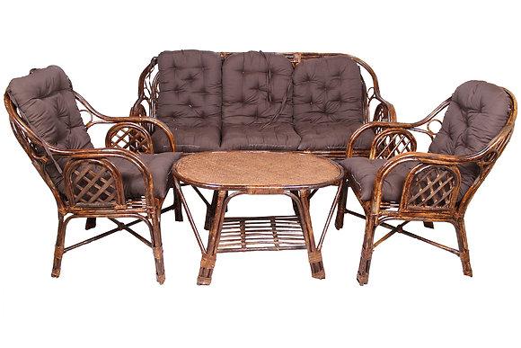 Novelty Cane Art Living Room 5 seater Rattan Modern Criss Cross Style Sofa Set