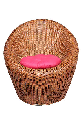 Novelty Cane Art Wicker Circular Styled Arm Chair with Cushion