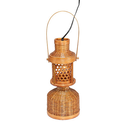 Novelty Cane Art Bamboo Chimney Table Lamp with Hanging Lantern for Home Decor