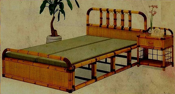 Novelty Cane Art RATTAN DOUBLE BED: DB33