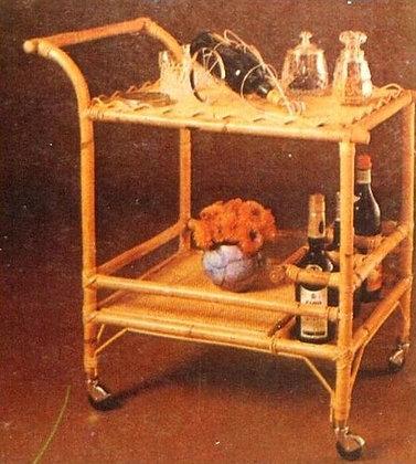 Novelty Cane Art RATTAN SERVING TROLLEY: BT3