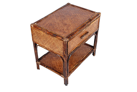 Novelty Cane Art Side Table with Drawer