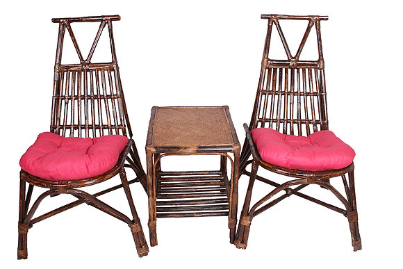 Novelty Cane Art Rattan Triangle Styled Chair with Table and Cushion
