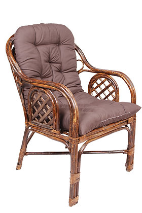 Novelty Cane Art Rattan Criss Cross Styled Arm Chair with Cushion