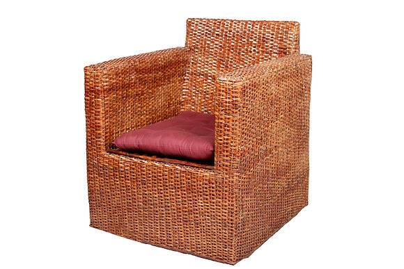 Novelty Cane Art Wicker Square Styled Arm Chair with Cushion