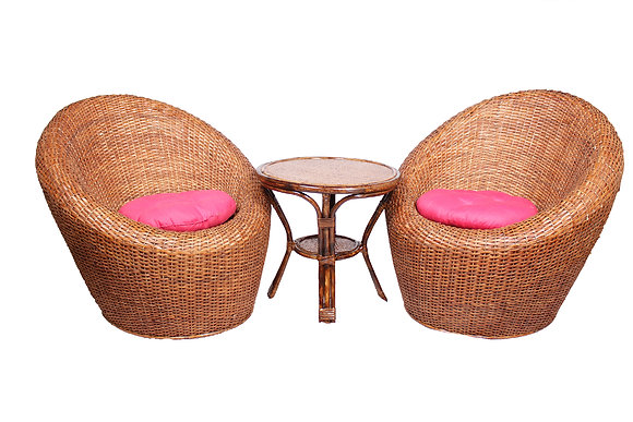 Novelty Cane Art Wicker Circular Styled Arm Chair with Table and Cushion