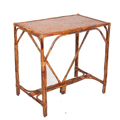 Novelty Cane Art Natural Rattan Cane Bamboo Rectangle Study Table for Home Decor