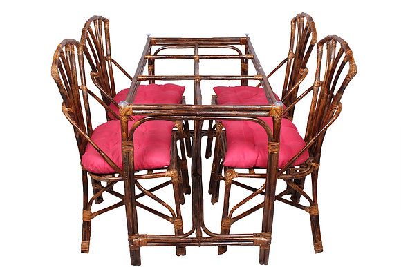 Novelty Cane Art Rattan Elegant 4 Seater Dinning Set