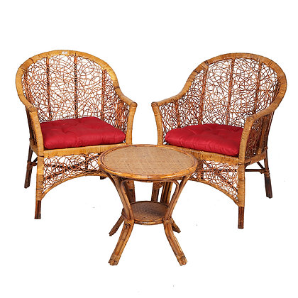 Novelty Cane Art Handmade Rattan Cane 2 Chair with Inclusive Cushion and Table