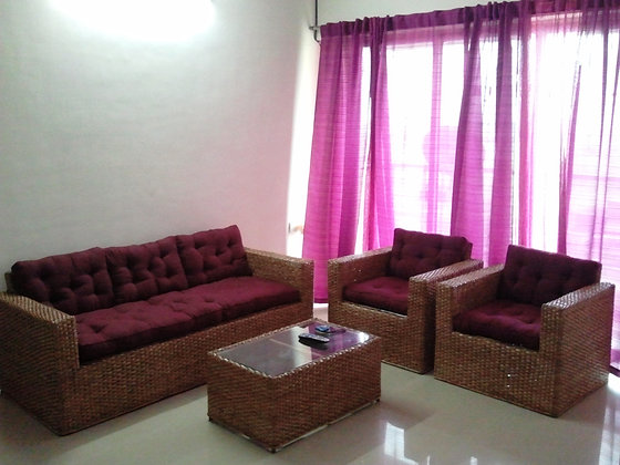 Novelty Cane Art Living Room 5 Seater Wicker Modern Sofa Set with Cushion