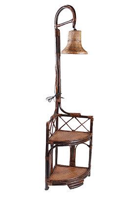 Novelty Cane Art Rattan Elegant Corner Floor Lamp with Shelves