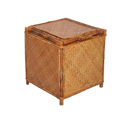 Novelty Cane Art Handcrafted and Natural Rattan Cane Bamboo Storage Box Cum Sitt
