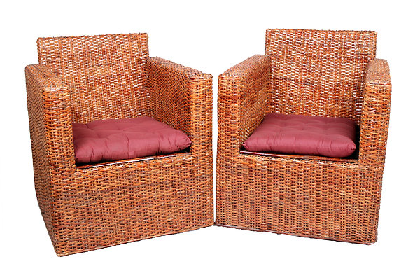 Novelty Cane Art Wicker Square Styled Arm Chair Set with Cushion