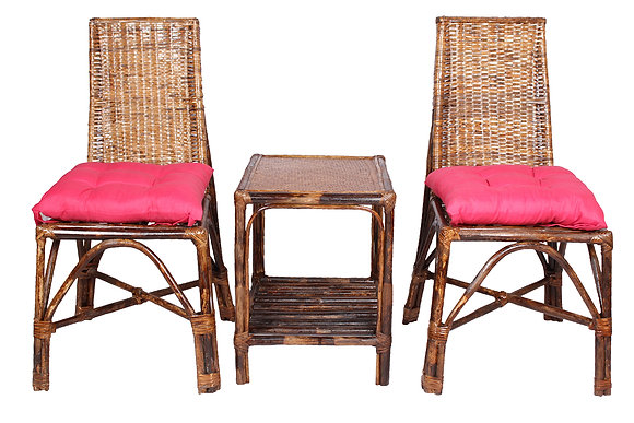Novelty Cane Art Wicker Triangle Styled Arm Chair with Table and Cushion