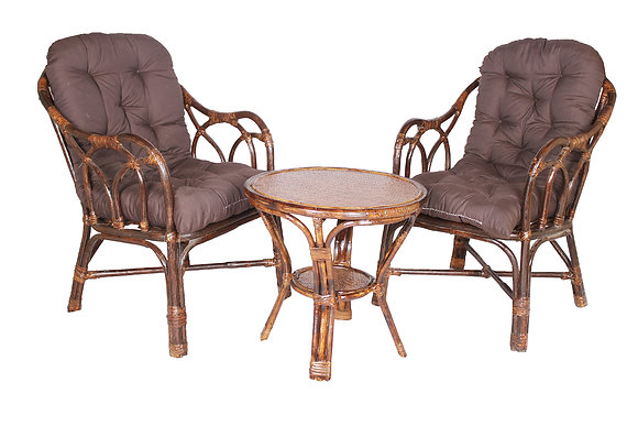 Novelty Cane Art Rattan Modern Living Room Arm Chair with Table and cushion