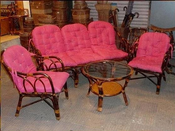 Novelty Cane Art Living Room 5 Seater Rattan Modern Sofa Set with Cushion