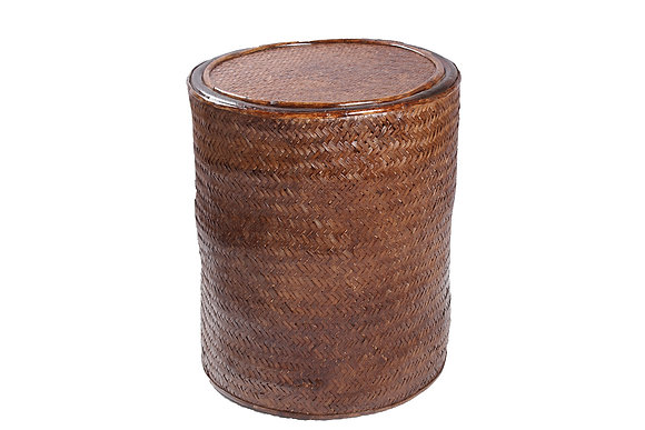 Novelty Cane Art Rattan and Wicker Cane Wood Bamboo Round Enclosed Pouffe Stool
