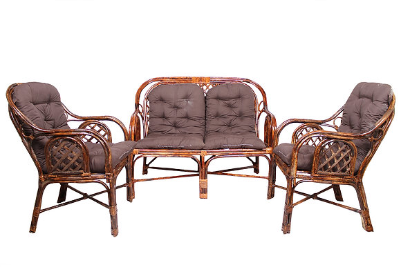 Novelty Cane Art Living Room 4 Seater (Rattan & Wicker,Brown)