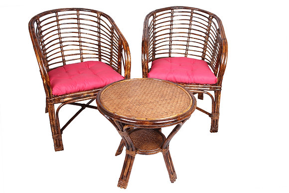 Novelty Cane Art Commando Table and Chair Set