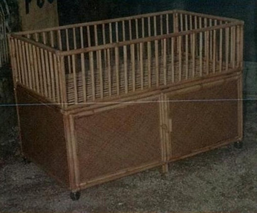 Novelty Cane Art RATTAN BABY COT WITH STORAGE: BBC12