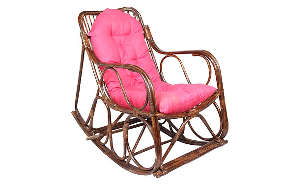 Novelty Cane Art Rattan Rocking Arm Chair With Cushion
