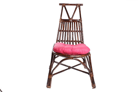 Novelty Cane Art Rattan Triangle Styled Chair with Cushion: CH95VPK