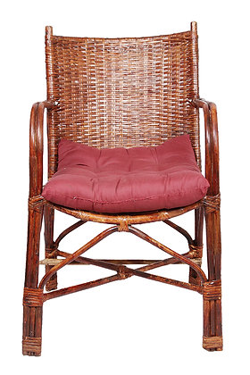 Novelty Cane Art Wicker Contemporary Styled Arm Chair with Cushion
