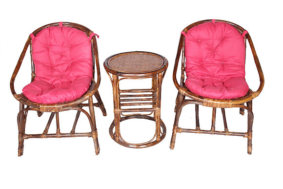 Novelty Cane Art Chair With Table And Cushion For Small Spaces