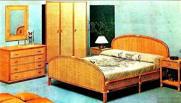 Novelty Cane Art WICKER DOUBLE BED: DB11