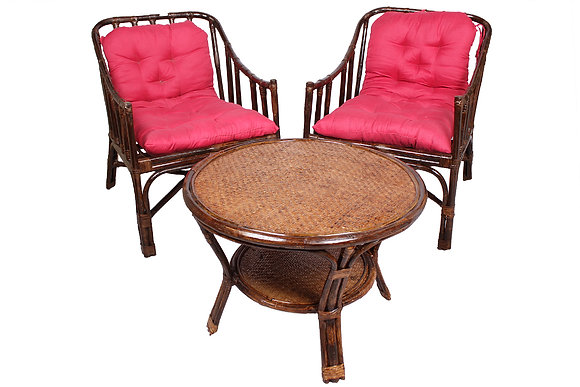 Novelty Cane Art Rattan Contemporary Styled Arm Chair with Table and Cushion