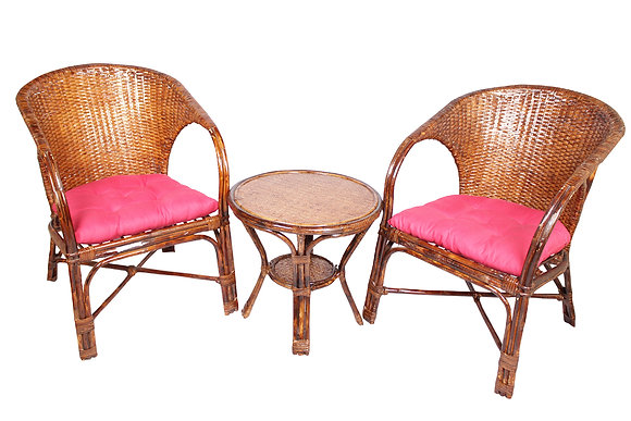Novelty Cane Art Wicker Arm Chair with Table and Cushion