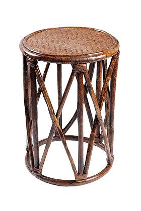 Novelty Cane Art Rattan and Wicker Circular Cane Wood Bamboo Pouffe Stool Muda