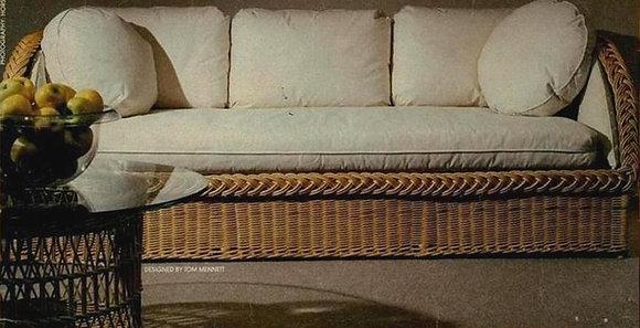 Novelty Cane Art Living Room 3 Seater Rattan Modern Sofa with Cushion