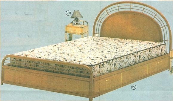 Novelty Cane Art RATTAN DOUBLE BED WITH STORAGE: DB22