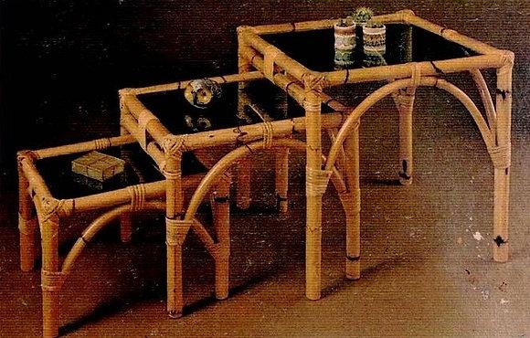 Novelty Cane Art  SET OF RATTAN SIDE TABLE: ST678