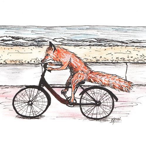 Fox on Bike Print