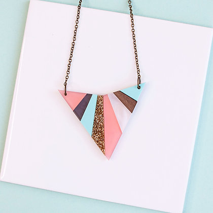 Pastel Glitter Arrowhead Necklace