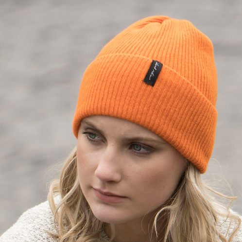 Orange Ribbed Woollen Hat
