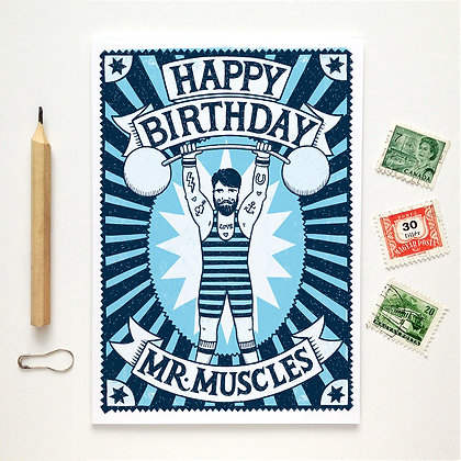 Happy Birthday Mr Muscles Card