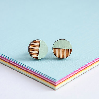 Mint Wooden Circle Stud Earrings