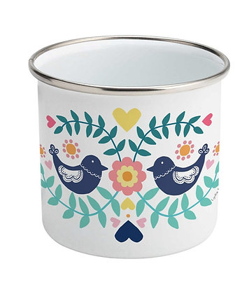 Folk Birds Enamel Mug