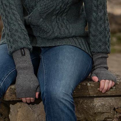 Slate Grey Ribbed Woollen Wristwarmers