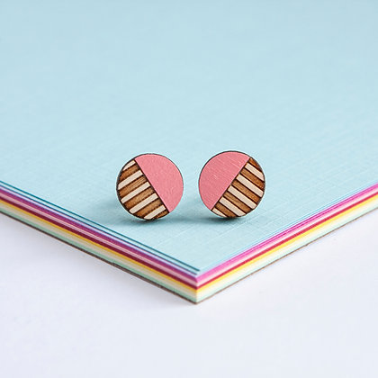 Pink Wooden Circle Stud Earrings