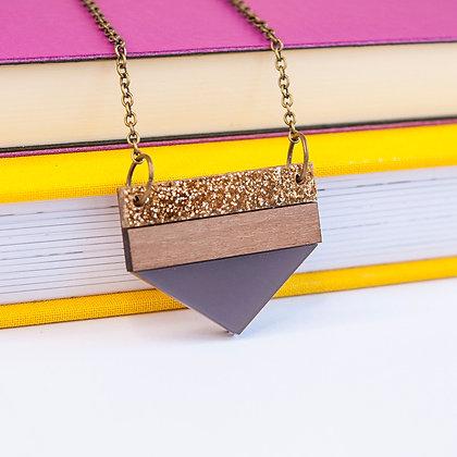Grey Glitter Point Necklace