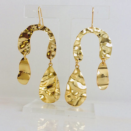 Gold Wave Statement Earrings