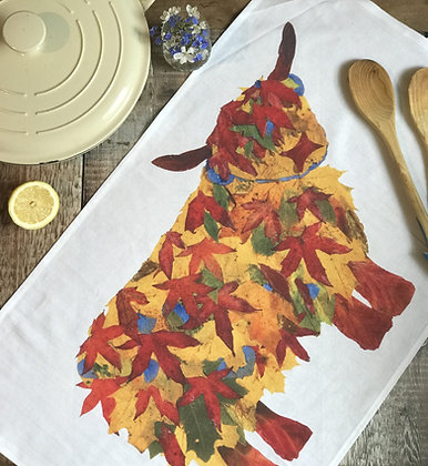 Leaf Highland Cow Tea Towel