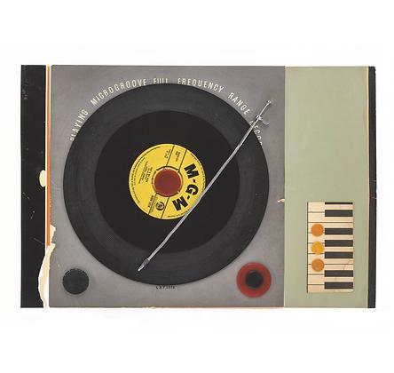 Retro Record Player Collage Print