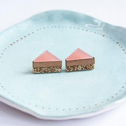 Pink Glitter Point Stud Earrings