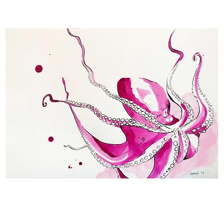 Pink Octopus Print