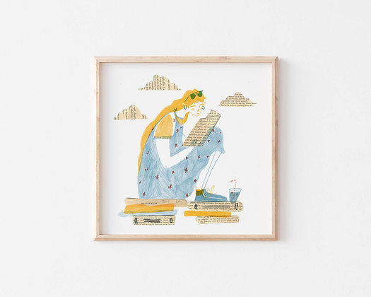The Reader Square Print